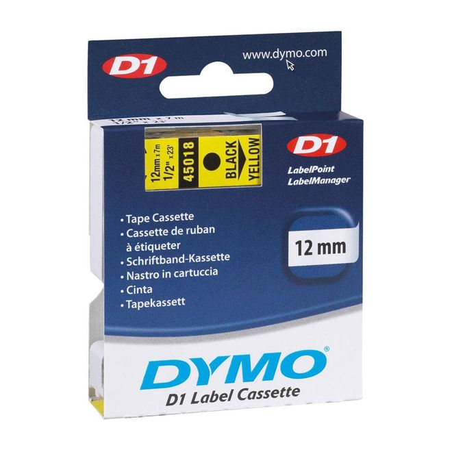 Fita-para-Rotulador-D1-Label-Cassette-Autoadesiva-Poliester-12mm-x-7m-Preto-Amarelo-45018---Dymo