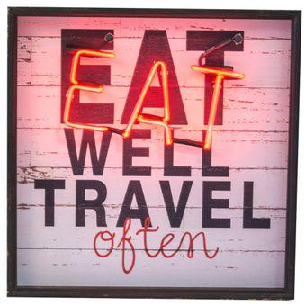 Quadro-Decorativo-Neon-Eat-Well-Travel-Often