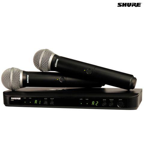 Kit 2 Microfones de Mão Sem Fio + Receptor Blx288brpg58 Shure