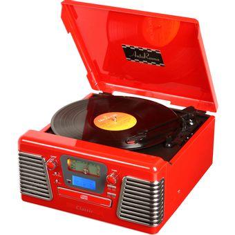Toca-Discos-de-Vinil-Retro-AutoRama-Vermelho-5-W-com-Entrada-USB-MP3-CD-e-Radio-33837---Classic