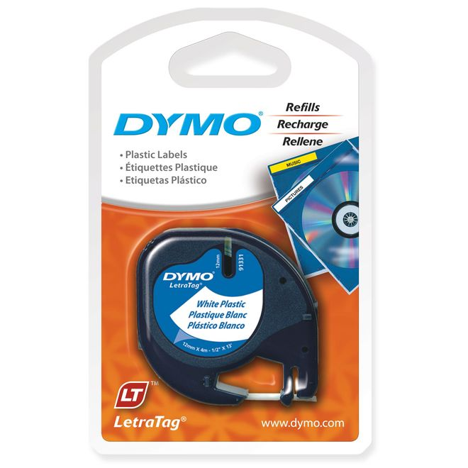 Fita-para-Etiquetador-Eletronico-LetraTag--12mm-x-4m--Poliester-Plastico-Preto-Branco---Dymo