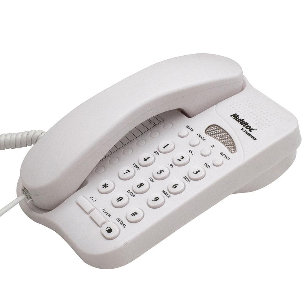 Telefone Com Fio Studio Com Chave de Bloqueio - Branco - Multitoc Telefone Com Fio Multitoc Studio Com Chave de Bloqueio - Branco