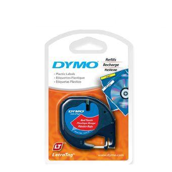 Fita Para Rotulador LetraTag (12mm x 4m) Plástico Preto/Vermelho 91333 – Dymo