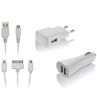 Kit de Carregador 3 em 1 Micro USB / iPhone 4 / iPhone5 CB068 - Multilaser