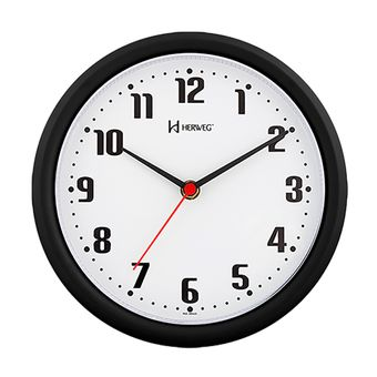 Relógio de Parede Analógico Redondo Preto 6102-034 Herweg