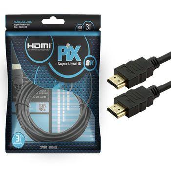 Cabo HDMI Classic 2.1 8K HDR 19 pinos 3m Pix